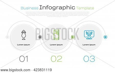 Set Line Milkshake, Glass With Milk And Cow Head. Business Infographic Template. Vector
