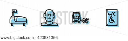 Set Line Disabled Car, Hospital Bed, Poor Eyesight And Separated Toilet For Disabled Icon. Vector