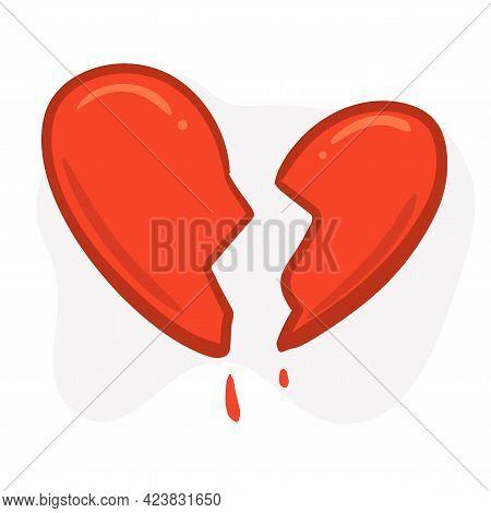 A Broken Heart In Half. Halves Of The Heart