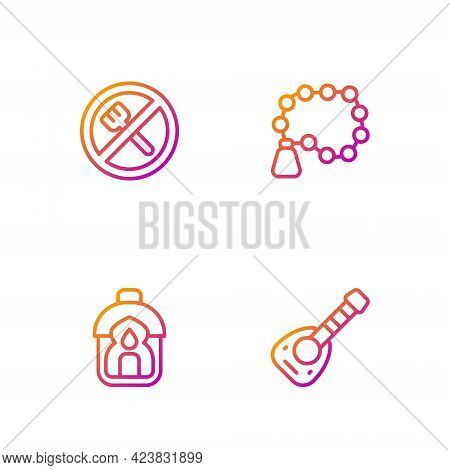 Set Line Lute, Ramadan Kareem Lantern, Fasting And Rosary Beads Religion. Gradient Color Icons. Vect