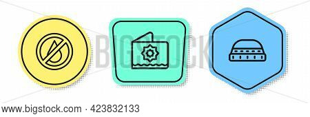 Set Line No Water, Octagonal Star And Muslim Hat For Prayer. Colored Shapes. Vector