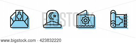 Set Line Octagonal Star, Donate Or Pay Your Zakat, Muslim Cemetery And Traditional Carpet Icon. Vect