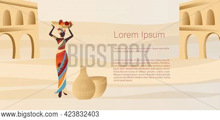 African Woman In Turban, Ceramic Vase,  Plants, Shapes And Landscape. Abstract Posters In Minimalist