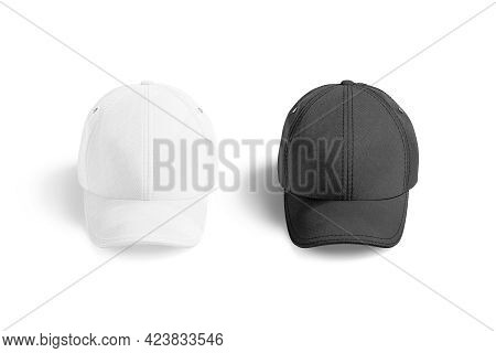 Blank Black And White Baseball Cap Mockup, Front View, 3d Rendering. Empty Casual Or Sporty Snap Bac