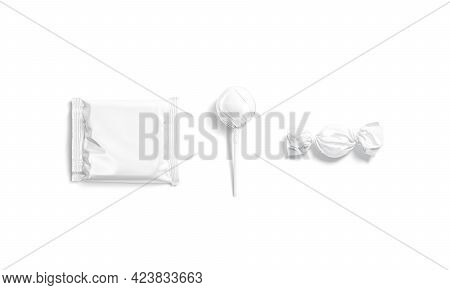 Blank White Candy, Lollypop And Cookies Pack Mockup, 3d Rendering. Empty Foil Wrapper For Sweety Sna