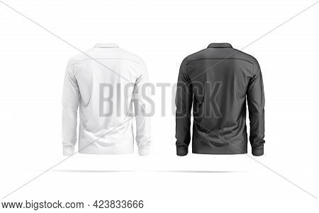 Blank Black And White Classic Shirt Mockup Set, Back View, 3d Rendering. Empty Male Casual Wear For