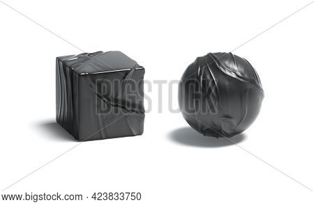 Blank Black Leather Ball And Cube Mockup Set, 3d Rendering. Empty Sphere And Square Wrinkly Leathern
