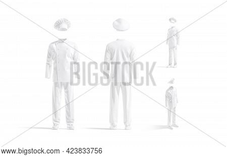 Blank White Chef Uniform Mockup, Different Views, 3d Rendering. Empty Tunic, Shoes, Pants And Toque