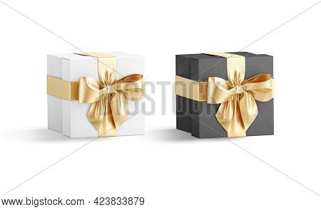 Blank Black And White Gift Box With Gold Ribbon Mockup, 3d Rendering. Empty Decorative Care Package