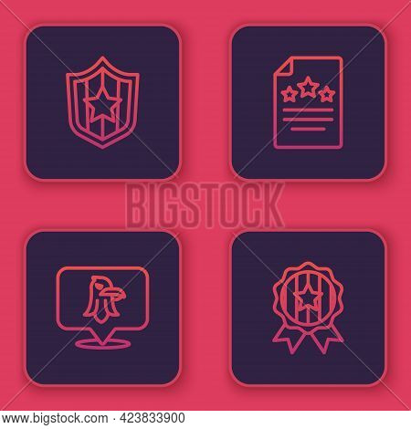 Set Line Shield With Stars, Eagle, Declaration Of Independence And Medal. Blue Square Button. Vector