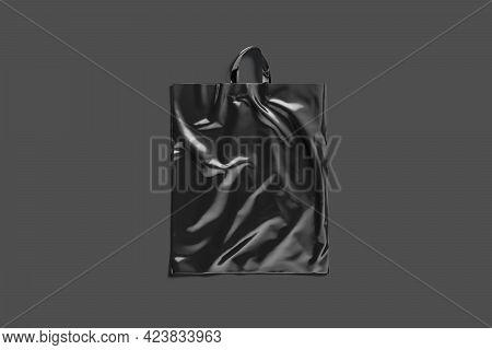 Blank Black Loop Handle Plastic Bag Mock Up, Dark Background, 3d Rendering. Empty Crumpled Package F