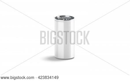 Blank White Aluminum Narrow 280 Ml Soda Can Mockup, Side View, 3d Rendering. Empty Canned Aerated Dr