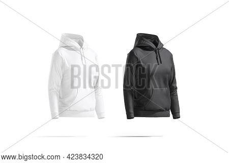 Blank Black And White Women Sport Hoodie Mockup, Side View, 3d Rendering. Empty Smock Woman Tolstovk