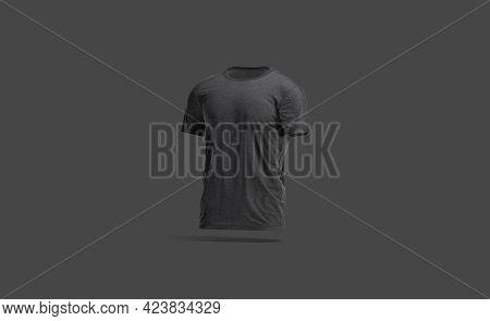 Blank Black Wrinkled T-shirt Mockup, Dark Background, 3d Rendering. Empty Crumpled Basic Tee-shirt M
