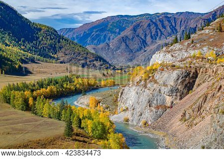 The Legendary Landscape Of The Altai Mountain Valley With A Turquoise River, High Mountain Rocky Mou