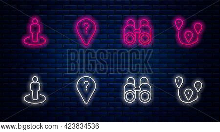 Set Line Unknown Route Point, Binoculars, Location With Person And Route Location. Glowing Neon Icon