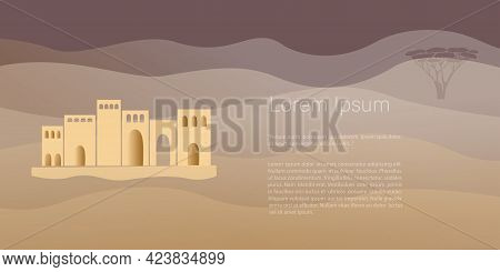 African And  East  Landscape, Desert  And Abstract Shapes, Desert City. Abstract Posters In Minimali