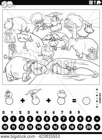 Black And White Cartoon Illustration Of Educational Mathematical Counting And Addition Game For Chil