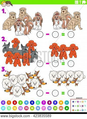 Cartoon Illustration Of Educational Mathematical Subtraction Puzzle Task For Children With Purebred