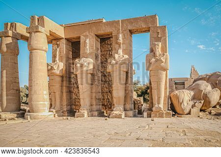 Ruins Of The Egyptian Temple Of Ramesseum, The Funeral Temple Of Pharaoh Ramses Ii Xiii Century Bc ,