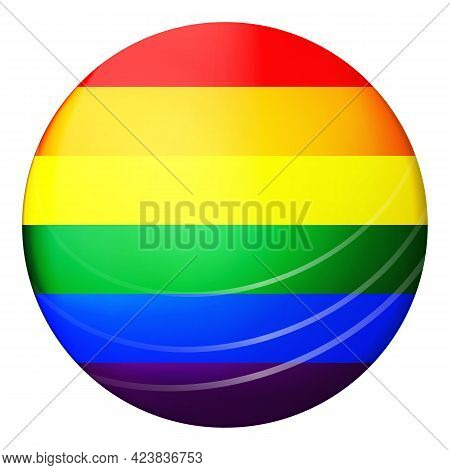 Glass Light Ball With Flag Of Lgbt. Round Sphere, Template Icon. Glossy Realistic Ball, 3d Abstract