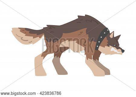 Angry Aggressive Brown Dog Baring Its Teeth Vector Illustration