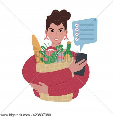 Young Caucasian Woman With Groceries Bag And A Shopping List On A Smartphone.
