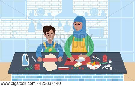 Grandmother Wearing Hijab And Her Grandson Preparing Meal Together. Flat Style Vector Illustration.