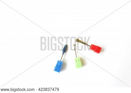 Metal Brush For Cleaning Diamond Nozzles For Manicure Milling Cutter. Nail Care Concept. Cutters For