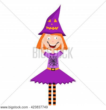 Halloween Kid Girl Character. Child In Colorful Halloween Costume. Girl Fooling Around On Halloween