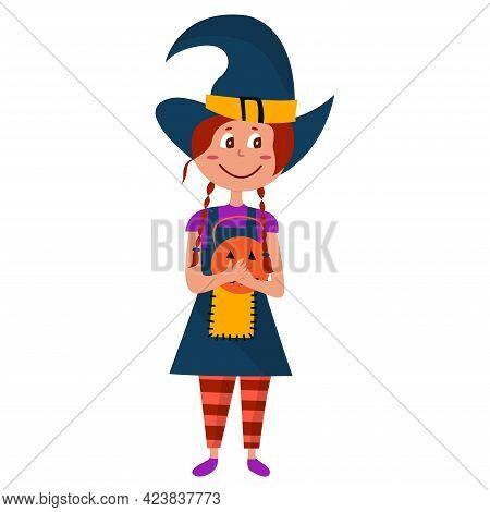 Halloween Kid Girl Character. Happy Halloween. Child In Colorful Halloween Costume Of Witch. Girl Ho