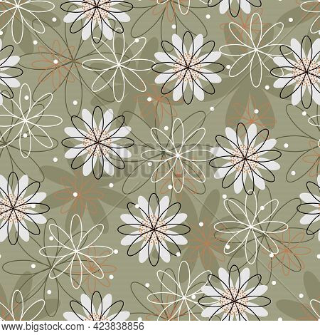 Seamless Pattern Symmetrical Flowers On A Green-orange Background, Can Be Used For Cards, Bed Linen,