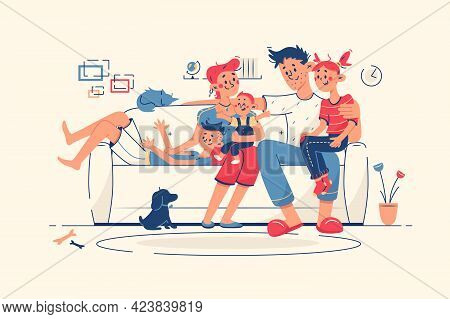 Family Together At Home On Sofa Vector Illustration. Mum, Dad, Kids And Domestic Pet Dog Chill In Li