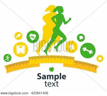 Indoor Fitness Concept And Fitness App Isolate. Flat Vector Illustration Of Athletic Young Girl In T