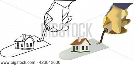 Hand With Glove And House Construction Trowel