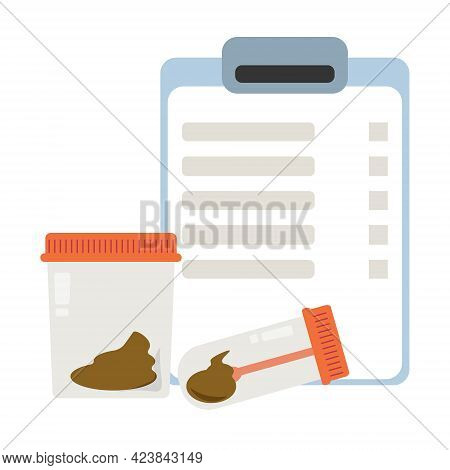 Stool Analysis, Feces Test Results And Container, Test Tube With Biological Material Vector Illustra