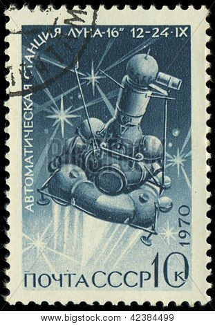 Russia - Circa 1970: A Stamp Printed In Ussr, Shows Station Moon-16 , Circa 1970