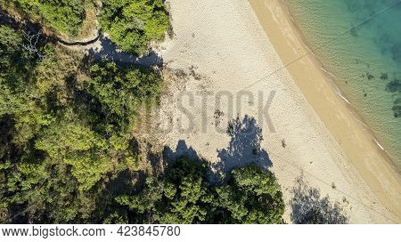 Drone Aerial Overhead View Of A Bushy Beach And Blue Ocean At Low Tide Showing Rocks On The Seabed,