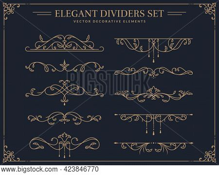Vintage Border Ornaments. Set Of Isolated Decorative Dividers. Flourish Vector Design Elements For W