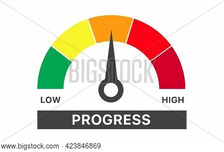 Progress Level Indicator. Graphic Element Speedometer. Credit Score Manometers. Vector