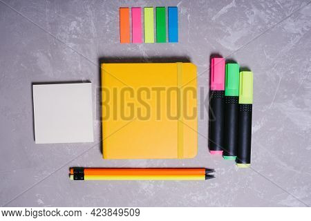 Stationery For Schoolchildren And Students. Back To School. Colored Text Makers, Bookmarks, Simple P