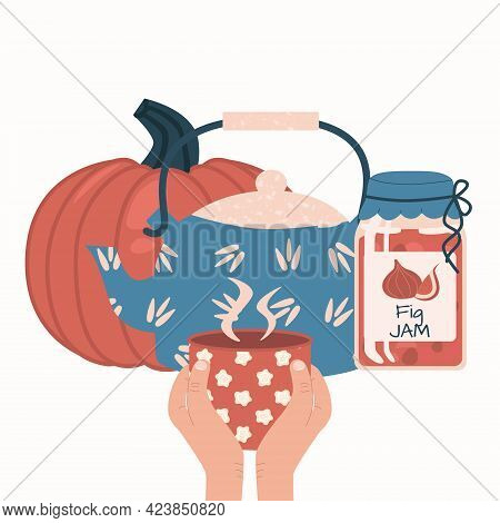 Set Of Autumn Food And Drink Flat Vector Elements. Pumpkin, Kettle Or Teapot, Jar With Fig Jam, Hand