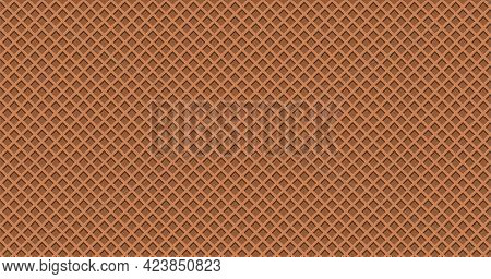Chocolate Waffle Vector Texture, Ice Cream Cone Background, Brown Wafer Pattern. Biscuit Banner. Car