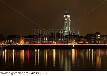 Deventer At Night View From The Other Side Of The Ijssel With The Lebuinuschurch
