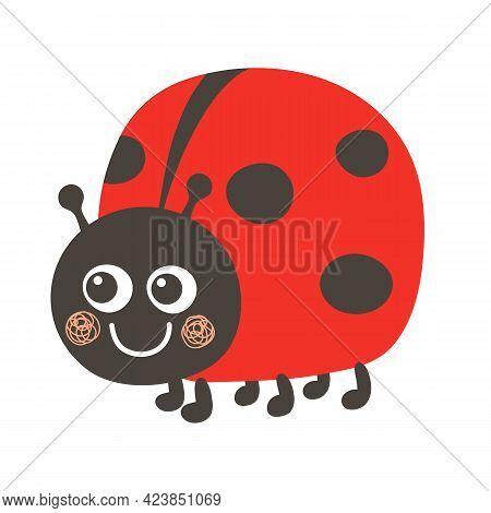 Cute Kawaii Ladybug Smiles. Ladybug Childrens Illustration In Cartoon Style.
