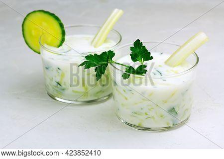 Kefir, Ayran, Yoghurt With Vegetables And Greens In Glasses