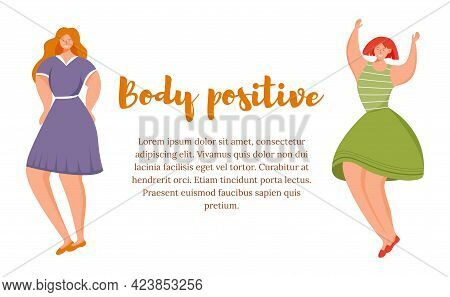 Body Positive Flat Poster Vector Template. Smiling Women Isolated Cartoon Characters On White. Strug