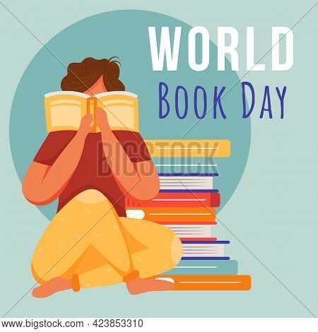 World Book Day Social Media Post Mockup. Student Reading Paperback. Advertising Web Banner Design Te