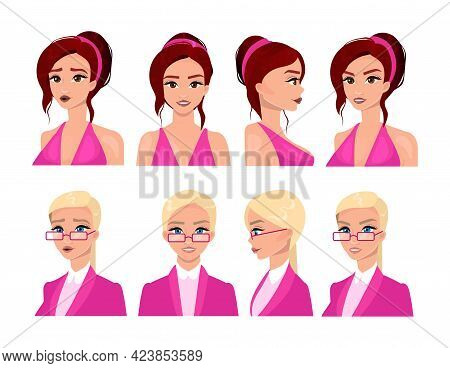 Female Faces Flat Vector Illustrations Set. Beautiful Women Avatars With Blonde And Brunette Hair, D