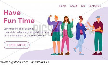 Have Fun Time Landing Page Vector Template. Millennials Website Interface Idea With Flat Illustratio